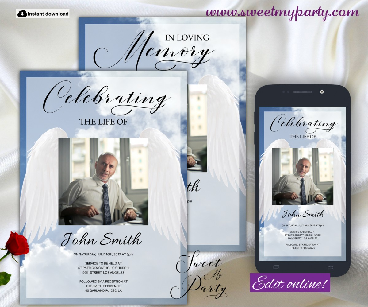 Angel Wings Funeral Invitation for Man,Bue Sky Memorial Service Invitation,(0wf)