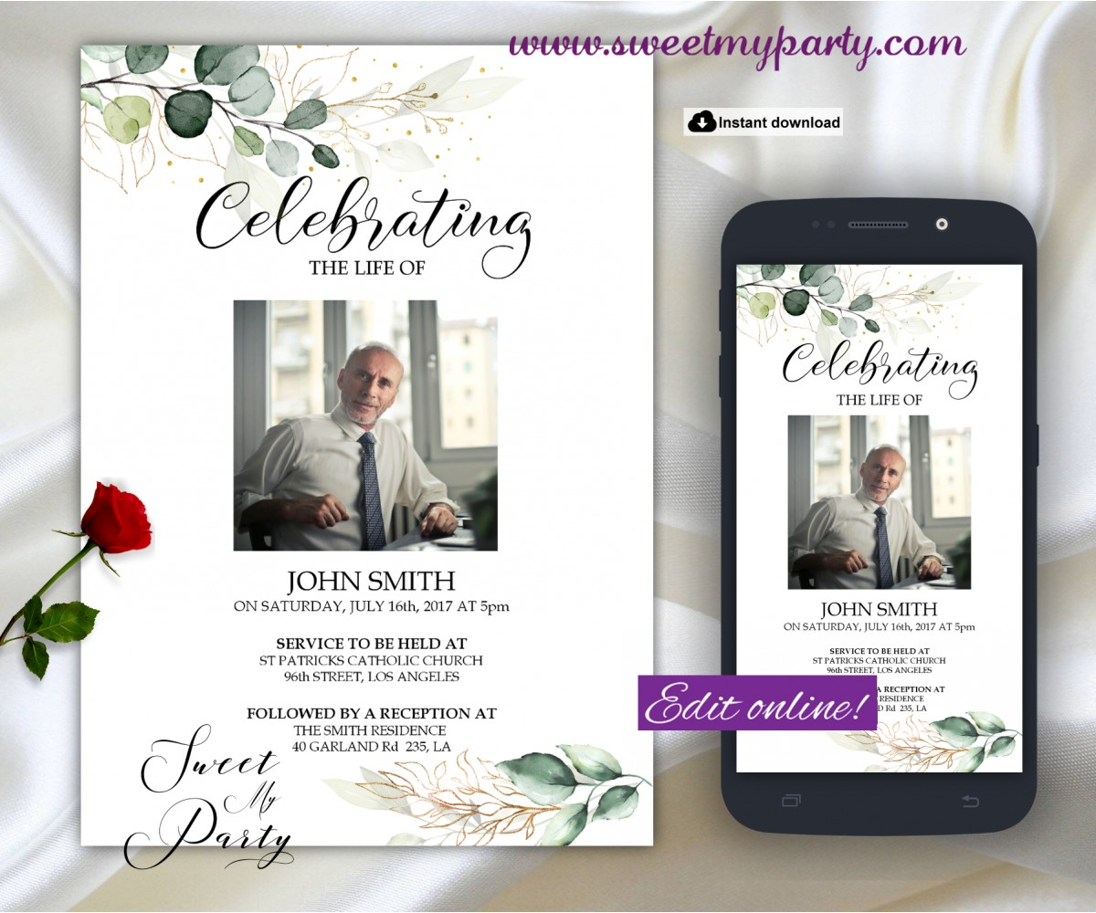 Greenery Funeral invitation template,Greenery Funeral Announcement, (157)