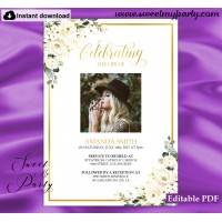 Ivory Roses Funeral invitation template, Funeral Announcement, (123)