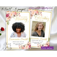 Blush Flowers Funeral Program, Pastel Flowers Memorial Service Program,(31f)