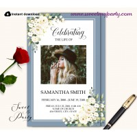 Dusty Blue Funeral Program, Memorial Program Template, (141)