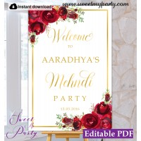 Red Roses Mehndi Party welcome sign,Mehndi Night welcome sign,(16)