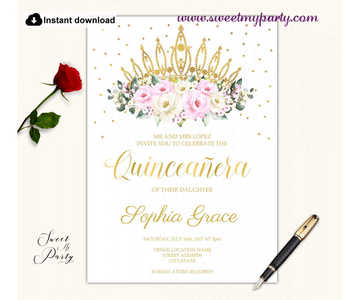 Cream pink roses Quinceanera invitation printable template, (135)