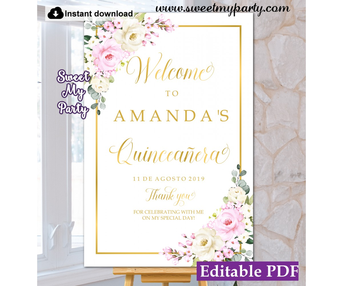Quinceañera welcome sign,Quinceanera welcome sign,(135)