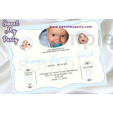 Baptism Invitation with photo,Christening Invitation with photo,First Communion Invitation with photo,(2bb)