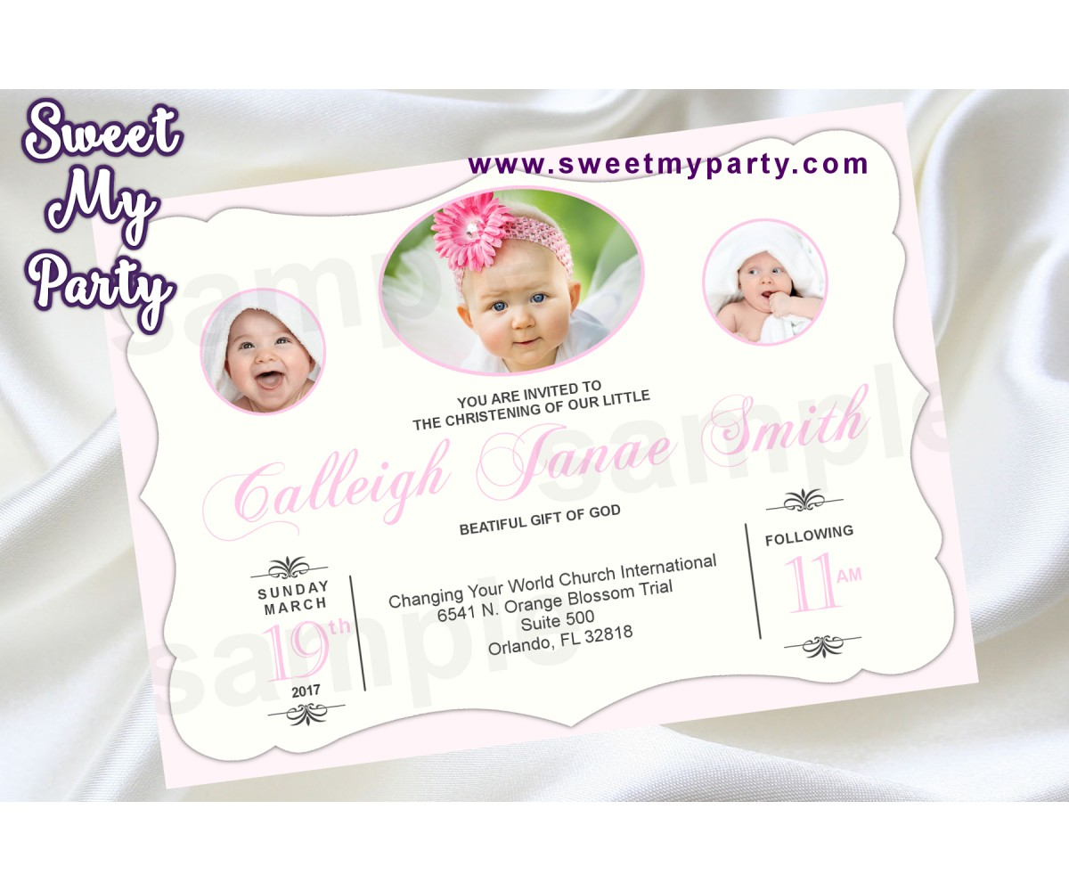 Baptism Invitation with photo,Christening Invitation with photo,First Communion Invitation with photo,(2bg)