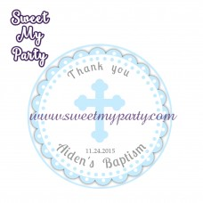 Boy Baptism stickers,Boy Christening thank you tags,(1)