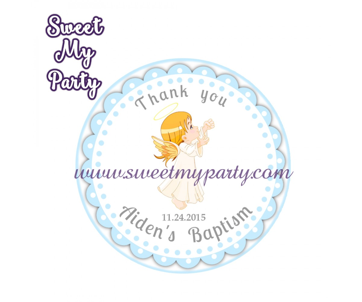 Boy Baptism stickers,Boy Christening thank you tags,(3)