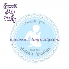 Boy Baptism stickers,Boy Christening thank you tags,(4)