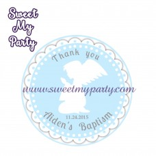 Boy Baptism stickers,Boy Christening thank you tags,(5)