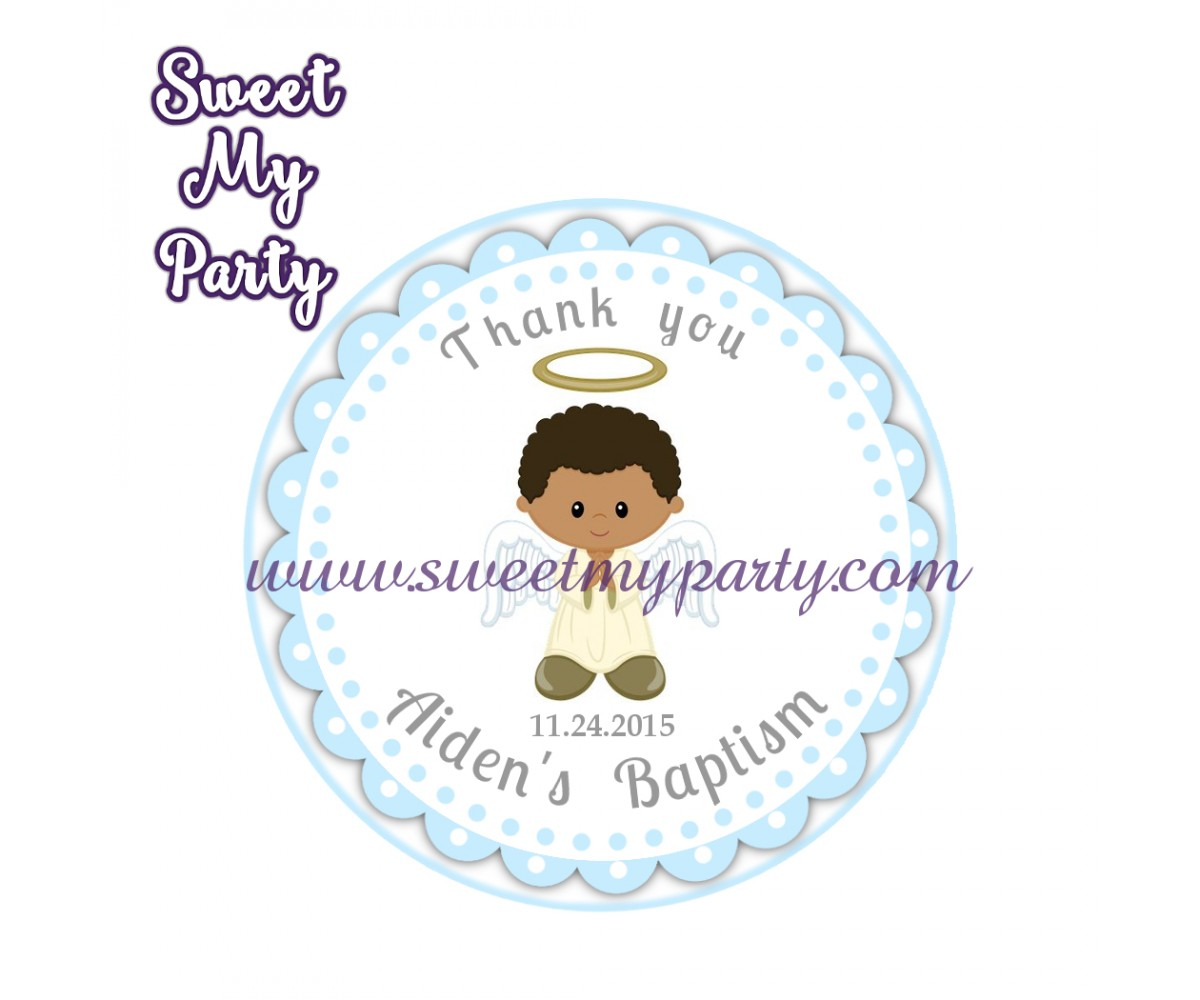 Boy Baptism stickers,Boy Christening thank you tags,(6)