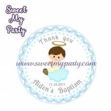 Boy Baptism stickers,Boy Christening thank you tags,(7)
