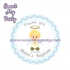 Boy Baptism stickers,Boy Christening thank you tags,(8)