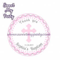 Girl Baptism stickers,Girl Christening thank you tags,(1)