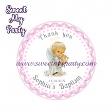 Girl Baptism stickers,Girl Christening thank you tags,(10)