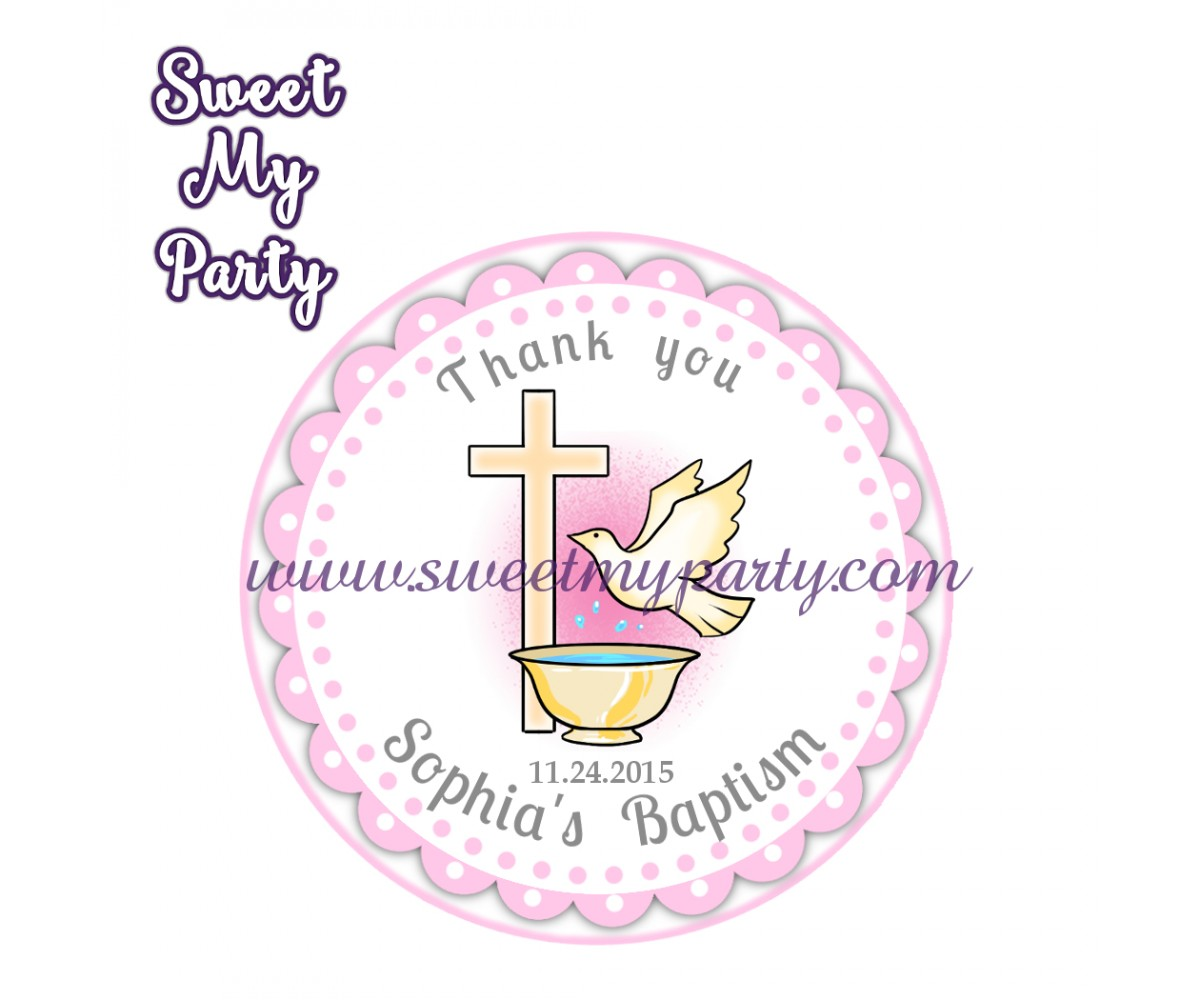 Girl Baptism stickers,Girl Christening thank you tags,(11)