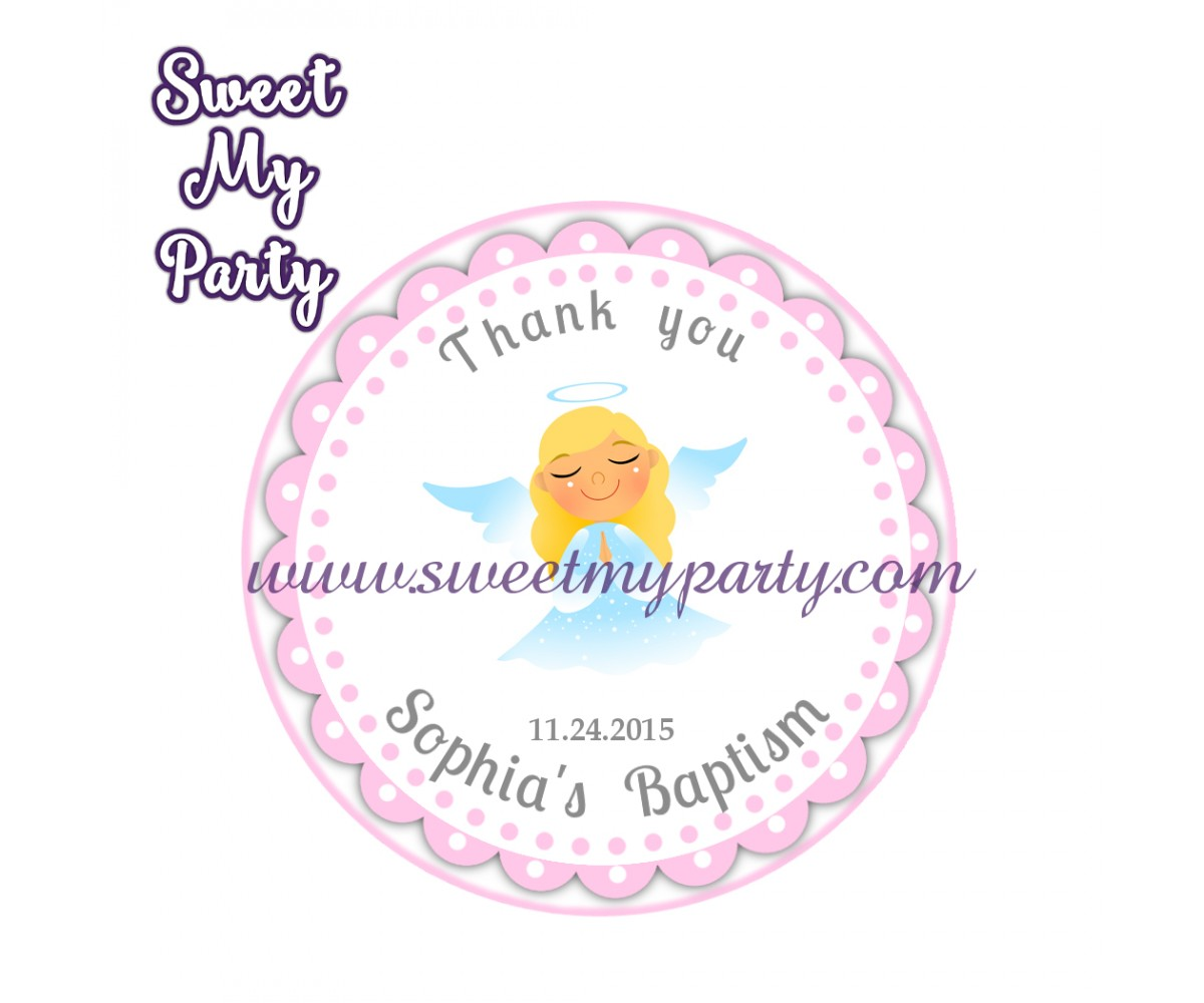 Girl Baptism stickers,Girl Christening thank you tags,(2)