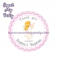 Girl Baptism stickers,Girl Christening thank you tags,(3)