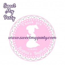 Girl Baptism stickers,Girl Christening thank you tags,(4)