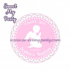 Girl Baptism stickers,Girl Christening thank you tags,(5)