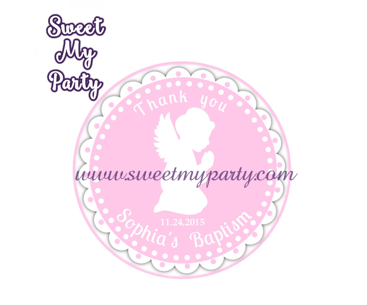Girl Baptism stickers,Girl Christening thank you tags,(6)