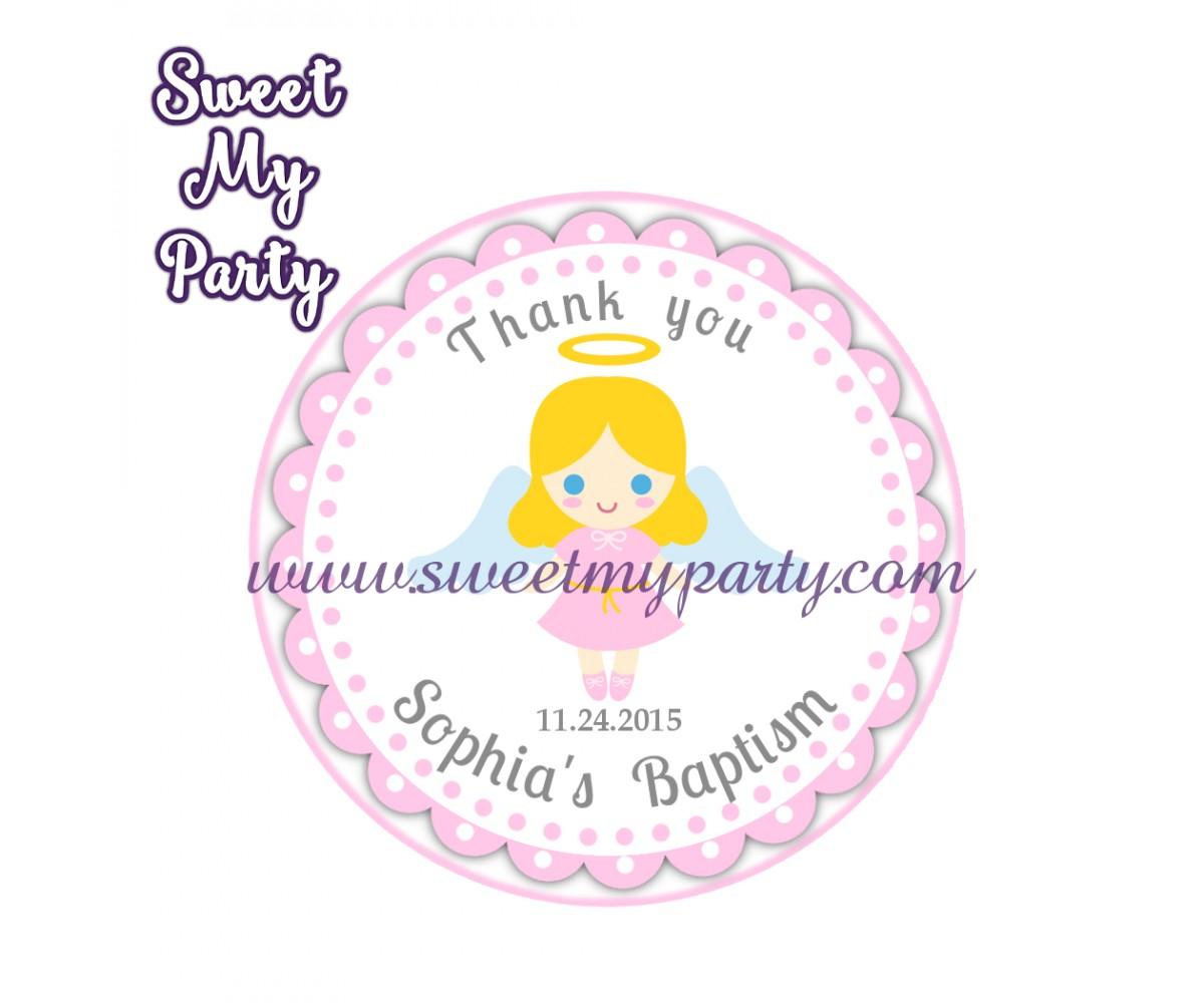 Girl Baptism stickers,Girl Christening thank you tags,(7)