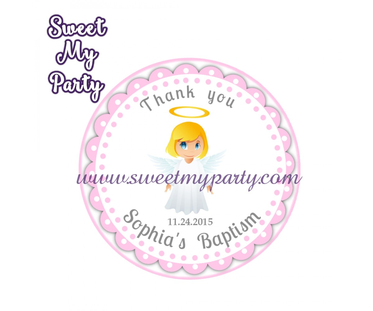 Girl Baptism stickers,Girl Christening thank you tags,(8)