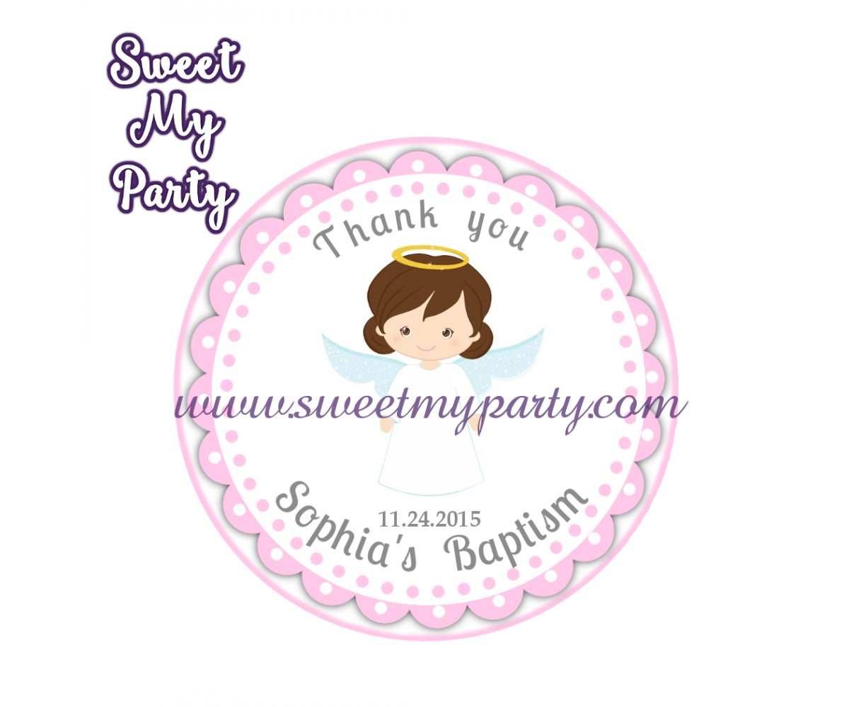 Girl Baptism stickers,Girl Christening thank you tags,(9)
