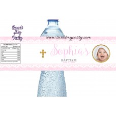 Baptism water bottle labels with photo for girl,Christening water bottle labels,(1bg)