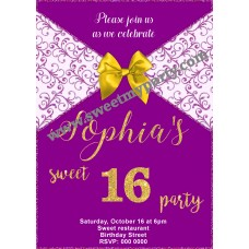 Purple Sweet 16 Party Invitation,Purple Quinceanera Party Invitation,(008aswee)
