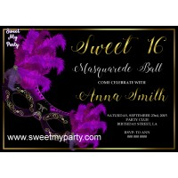 Sweet 16 Masquerade Party Invitation,Quinceanera Masquerade Party Invitation,Masquerade Party Invitation,(010swee)