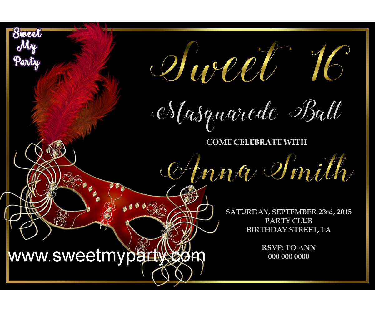 Sweet 16 Masquerade Party Invitation,Quinceanera Masquerade Party Invitation,(011swee)