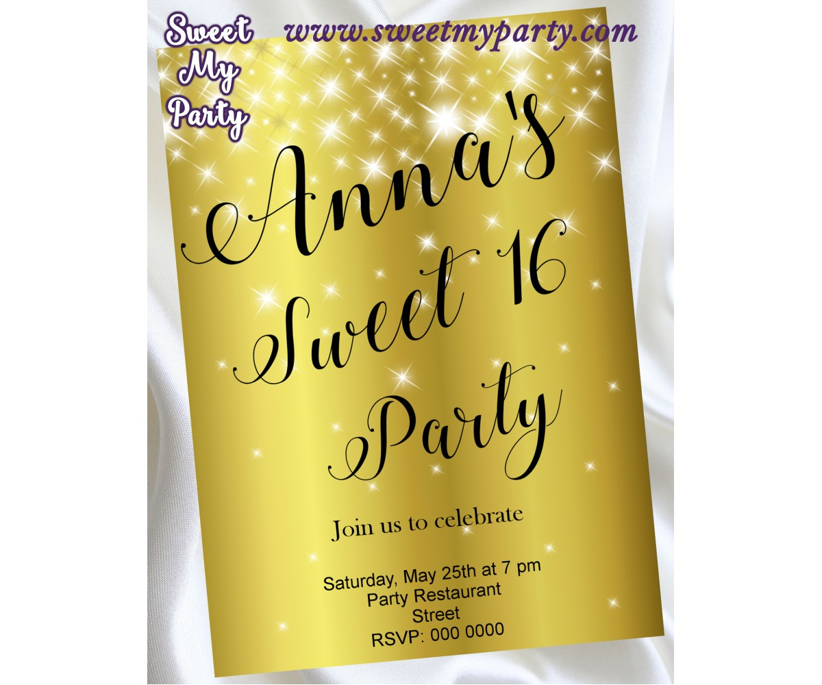 Gold Sparkly Sweet 16 Party Invitation,Gold Sparkly Quinceanera Party Invitation,(12swee)