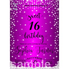 Purple Diamonds Sweet 16 Invitations,Purple Sparkle Diamonds Quinceanera Invitations,(016swee)