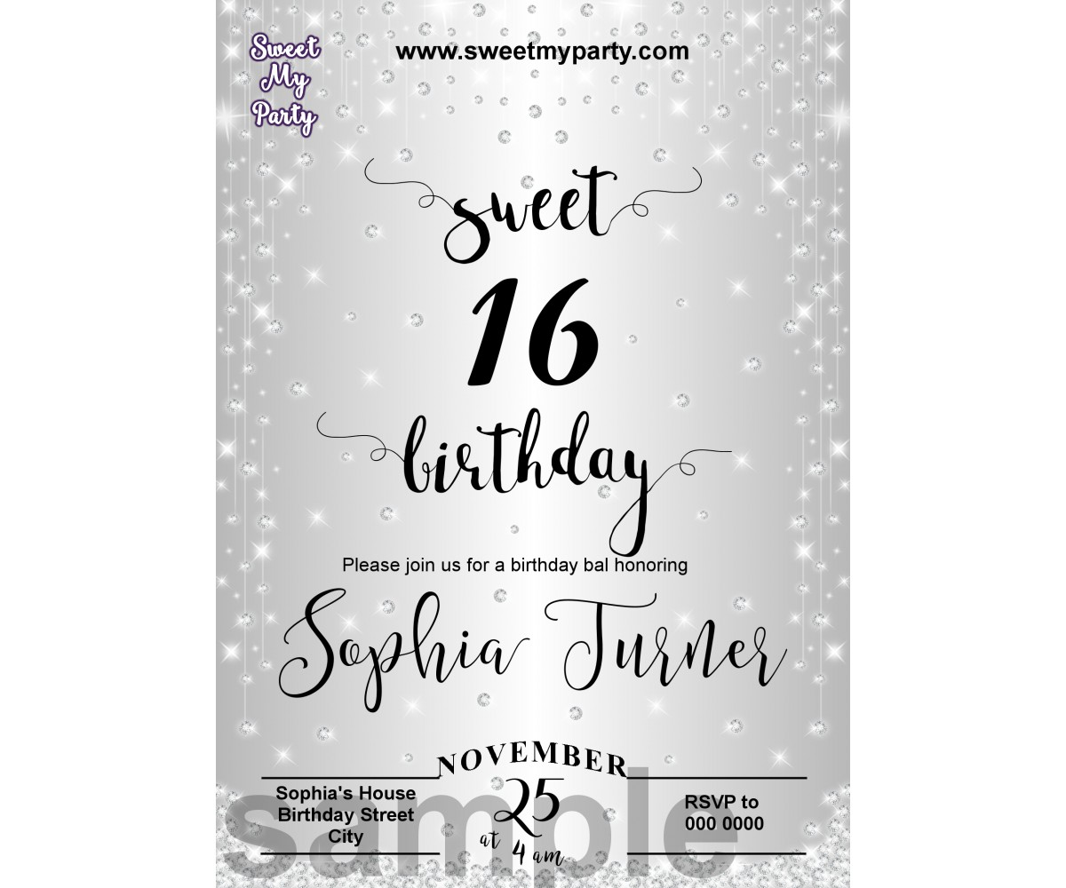Sweet 16 Silver Diamonds Invitations,Silver Sparkle Diamonds Quinceanera Invitations,(013aswee)