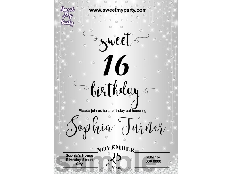 sweet 16 silver diamonds sparkly party invitations silver diamonds