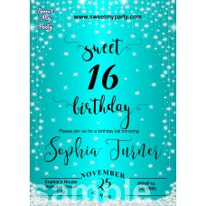 Turquoise Diamonds Sweet 16 Invitations,Turquoise Sparkle Diamonds Quinceanera Invitations,(015swee)