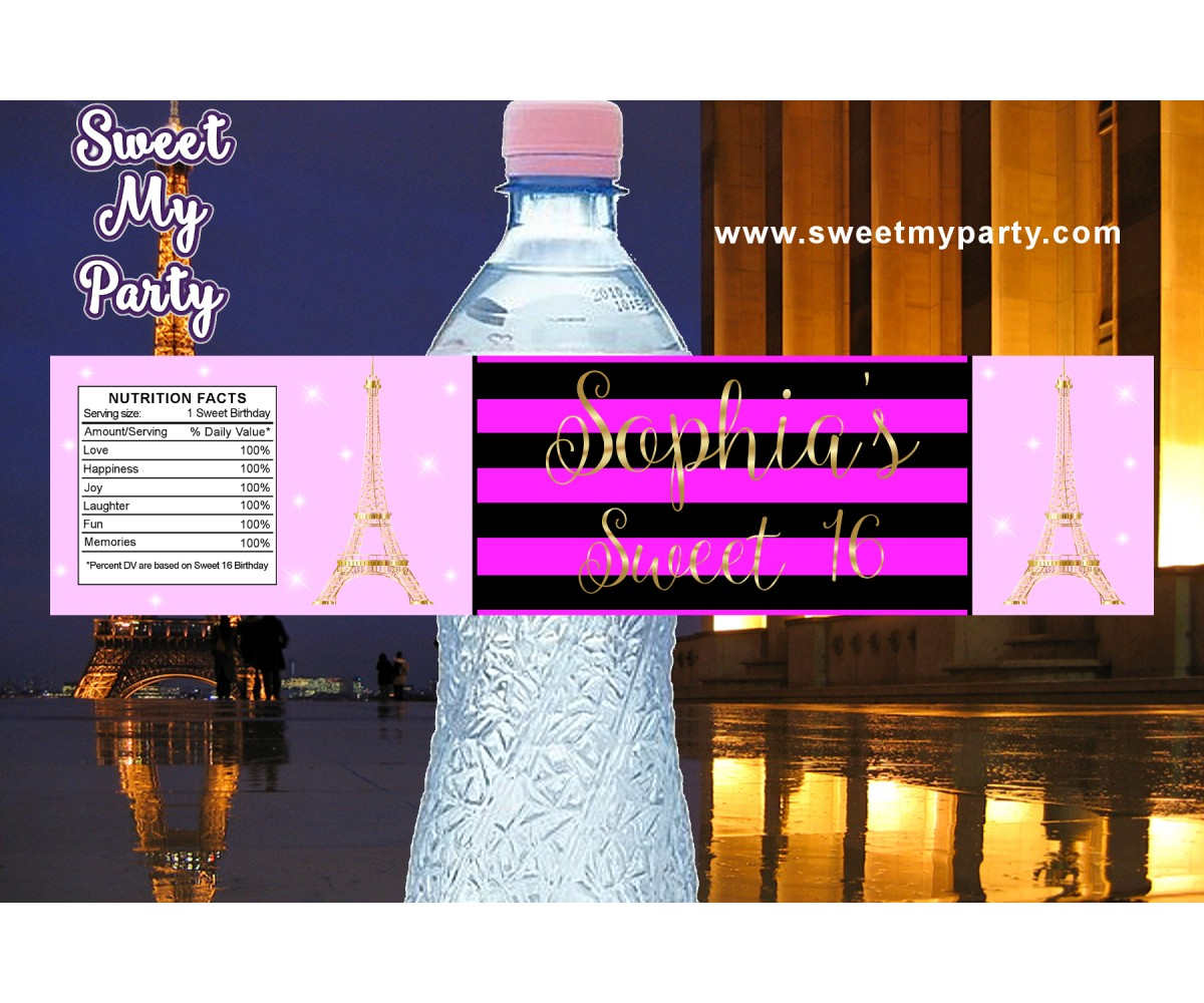 Eiffel Tower birthday party pink water bottle labels, A night in Paris birthday pink water bottle labels,(17swee)