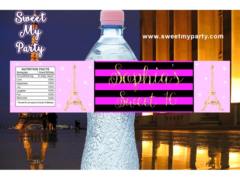 Eiffel Tower Birthday Pink Water Bottle Labels A Night In Paris