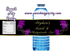 Sweet 16 Masquerade water bottle labels,Quinceanera Masquerade bottle labels,(010swee)