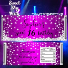 Sweet 16 purple diamonds candy bar wrappers,Quinceanera candy bar wrappers,Sweet sixteen purple diamonds candy bar wrappers,(016swee)