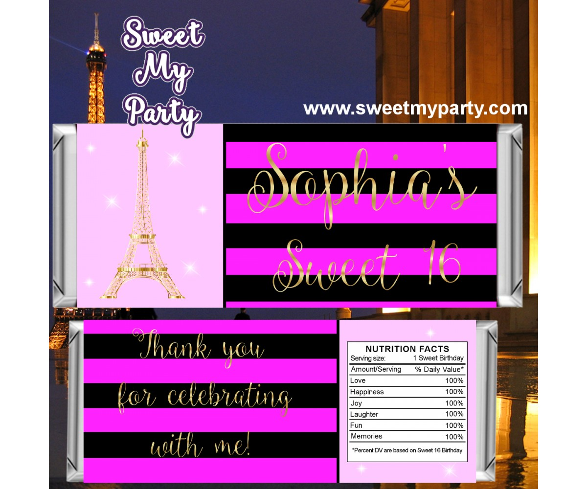 Eiffel Tower birthday pink candy bar wrappers, A night in Paris birthday pink candy bar wrappers,(17swee)