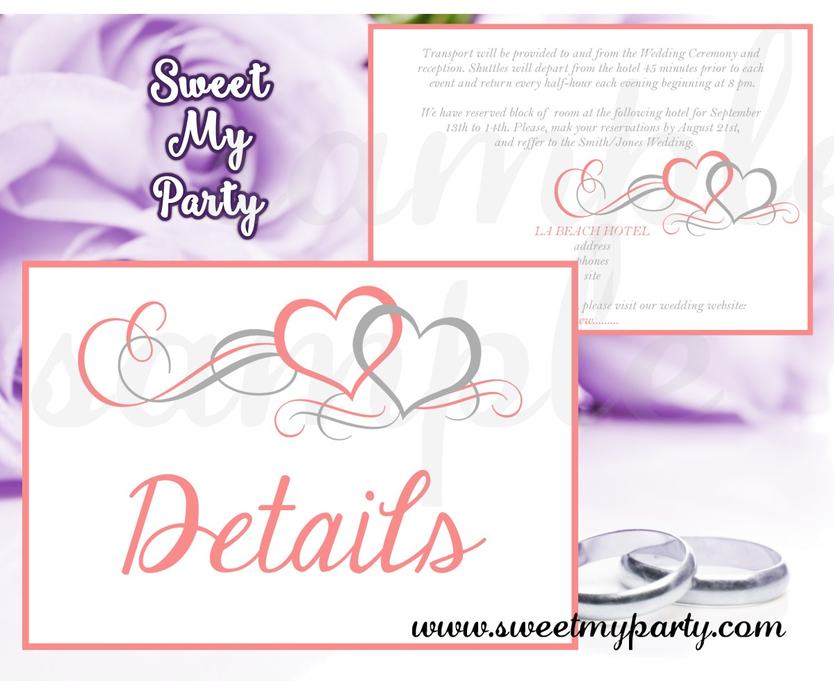 Hearts Wedding Details card,Coral Hearts Wedding details card,(018w)
