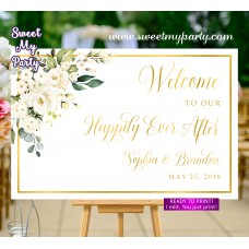 Ivory flowers Welcome Sign,Cream flowers Wedding Welcome sign,(123aw)