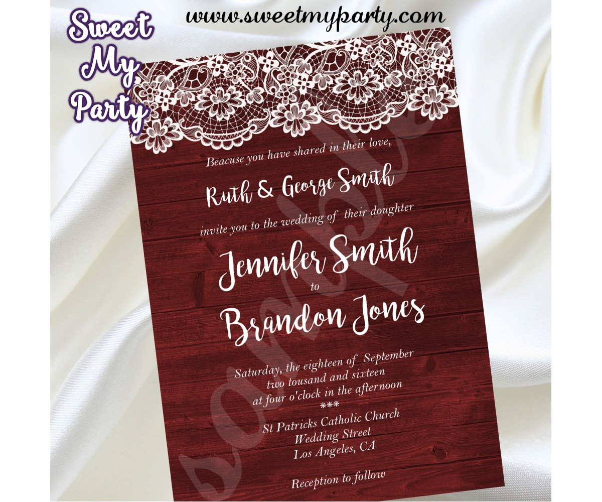 Rustic Wedding invitation,Wood Lace Wedding Invitation,Vintage Wedding Invitation,(017w)