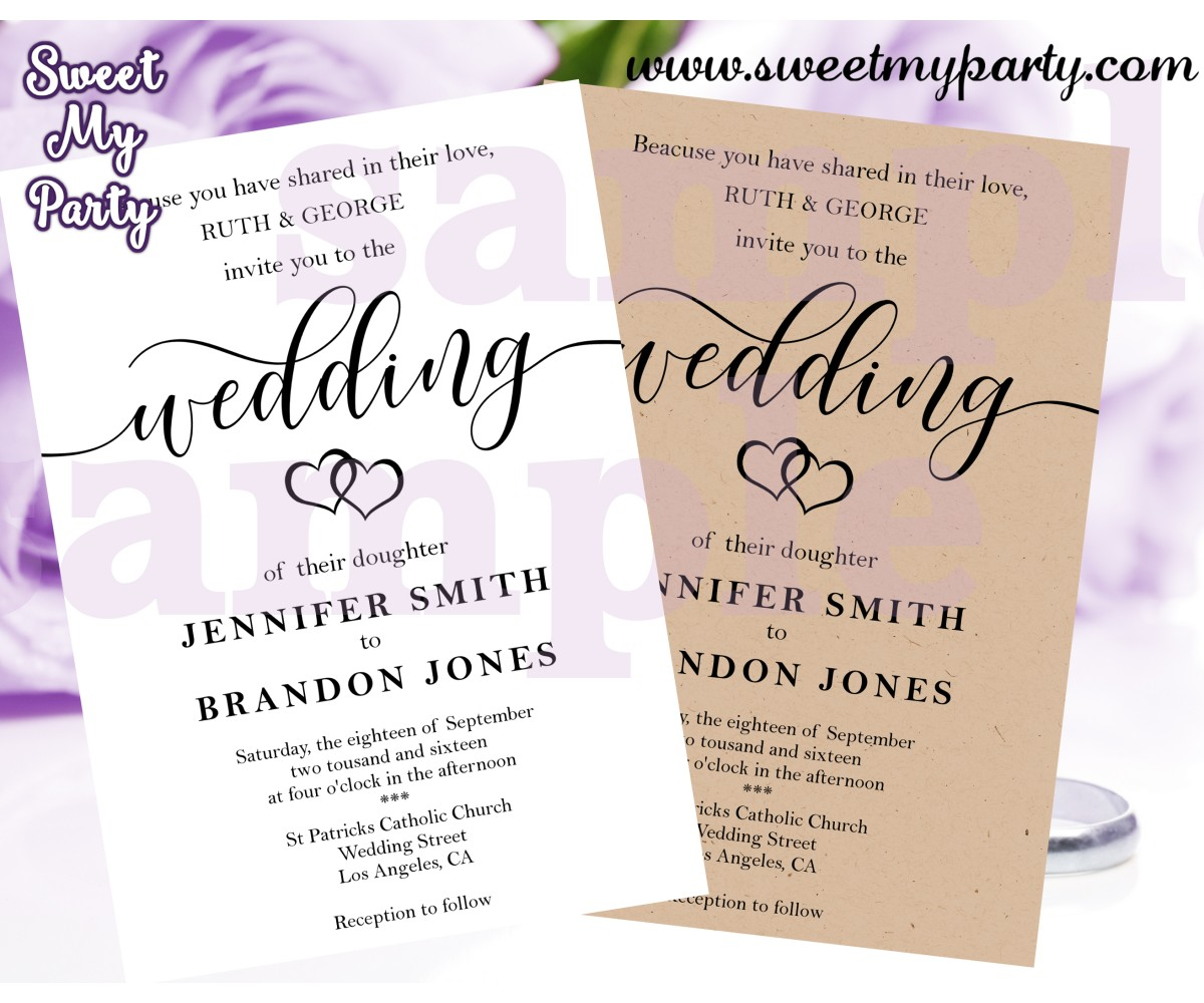 Modern Wedding Invite Wording: Kraft Wedding Invitations