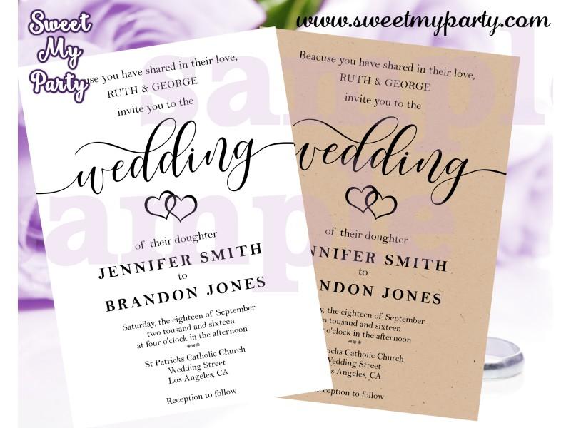 Rustic Wedding Invitation Kraft Wedding Invitations Kraft Paper