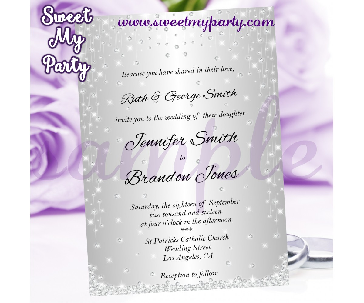 Silver Wedding Invitation,Diamonds Wedding Invitation,(015w)