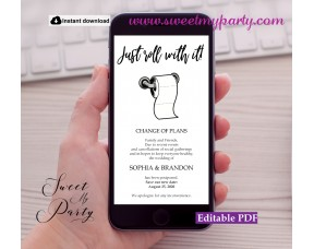 Just Roll With It Wedding Announcement template,(0dw)