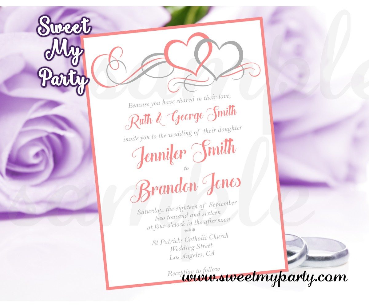 Hearts Wedding Invitation,Coral Hearts Wedding Invitation,( 18w)